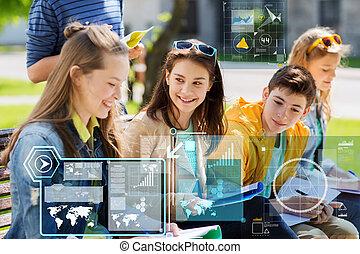 adolescent, étudiants, à, portables, à, cour école