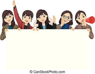 adolescent, étudiants, acclamation, filles, illustration