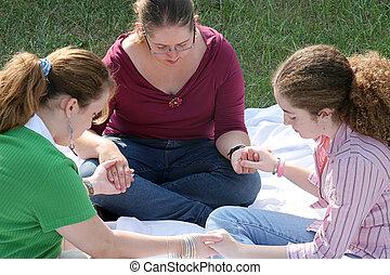 adolescent, 1, cercle, prière