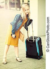 adolescent, aéroport, jeune fille, valise