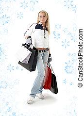 adolescent, achats, girl, flocons neige