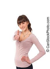 adolescent, agréable, haut, girl, pouces