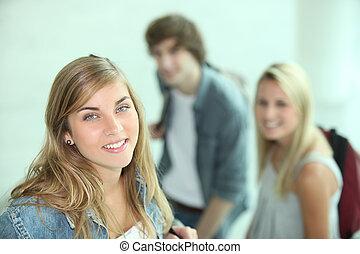 adolescent, aller, classe, trois