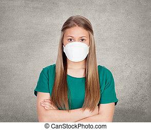 adolescent, allergique, masque, figure