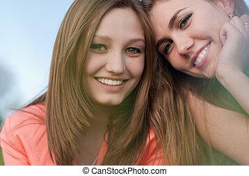 adolescent, amis, deux, girl, heureux