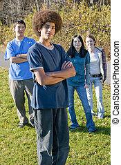 adolescent, amis, ethnique