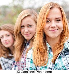 adolescent, amis, trois, heureux