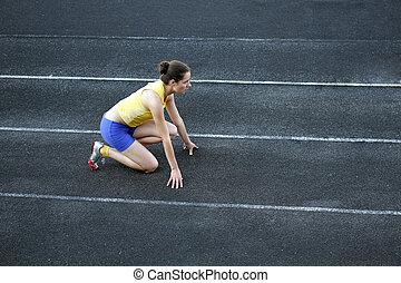 adolescent, athlétique, début, piste, position, girl