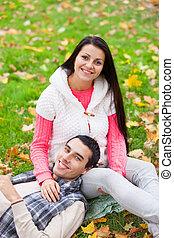 adolescent, automne, couple, parc, temps