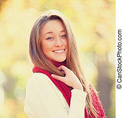 adolescent, automne, girl, extérieur