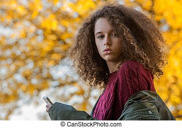 adolescent, automne, girl, parc