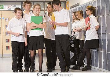 adolescent, autour de, garçons école, clustered, girl