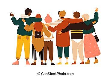 adolescent, autre, dos, ensemble, debout, groupe, élèves, filles, isolé, arrière-plan., blanc, plat, étudiants, embrasser, onduler, garçons, amis, dessin animé, hands., école, illustration., vecteur, chaque, ou, vue