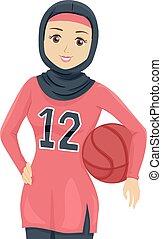 adolescent, basket-ball, musulman, illustration, joueur, girl