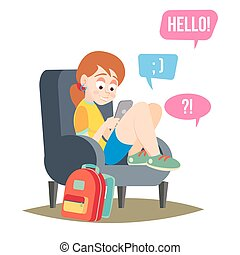 adolescent, bavarder, caractère, texting, illustration, addiction., téléphone portable, téléphone., vector., girl, dessin animé, intelligent