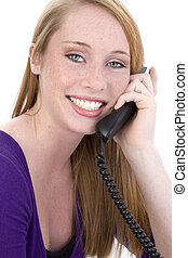 adolescent, beutiful, téléphone, girl, heureux