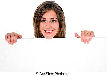 adolescent, blanc, girl, panneau