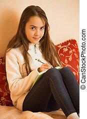 adolescent, brunette, écriture, agenda, chambre à coucher, girl
