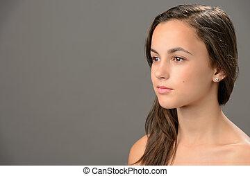 adolescent, brunette, beauté, loin, regarder, peau, girl