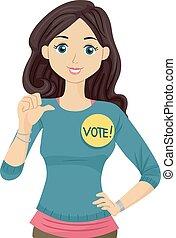 adolescent, campagne, candidat, étudiant, conseil, girl