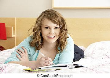 adolescent, chambre à coucher, agenda, girl, écriture