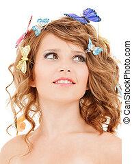 adolescent, cheveux, papillons, girl, heureux