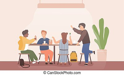 Adolescent children spend time together during school break talking and eating in canteen. Students sitting at dining room. Pupils inside cafeteria having lunch. Flat vector cartoon illustration