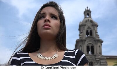 adolescent, chrétien, inquiété, église, girl, prier