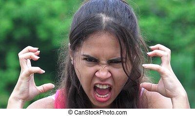 adolescent, colère, femme