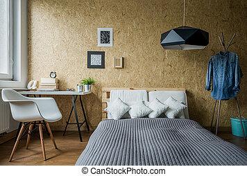 adolescent, confortable, chambre à coucher