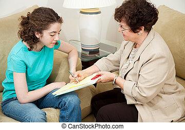 adolescent, conseiller, -, accord, signes