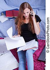 adolescent, conversation, examen, ami, avant