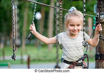 adolescent, corde, piste, park., va, girl, articulé