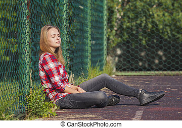 adolescent, cour de récréation, eduquer fille, séance