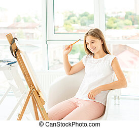 adolescent, crayon, girl, graphique, dessin