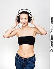 adolescent, crise, écouteurs, jeune, musique écouter, girl