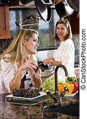 adolescent, cuisine, girl, bavarder, mère