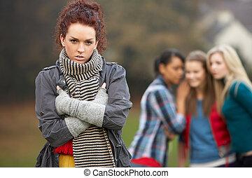 adolescent, désordre, fond, bavardage, amis fille