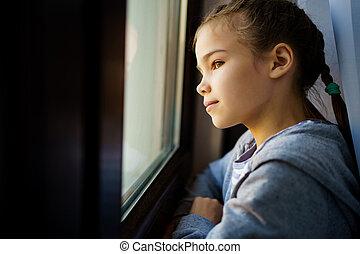 adolescent, dehors., girl, prendre garde, fenêtre, self-isolating.