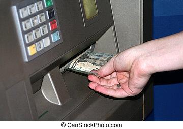 adolescent, distributeur billets banque, transaction