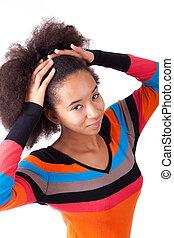 adolescent, elle, cheveux, américain, noir, tenue, africaine, afro