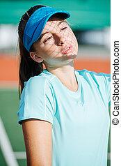 adolescent, elle, ombre, figure, tennis, girl, somnolent, casquette, filet