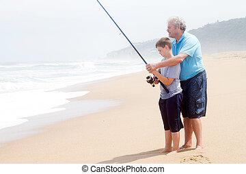 adolescent, enseignement, peche, petit-fils, grand-père