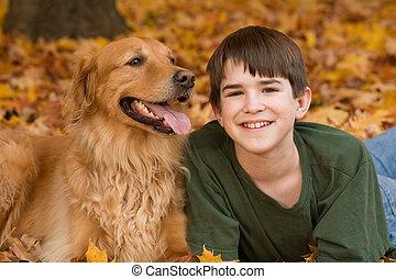 adolescent, et, chien