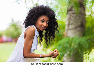 adolescent, extérieur, gens, -, noir, africaine, portrait,...