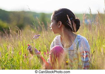 adolescent, extérieur, jeune, américain, africaine, portrait, girl