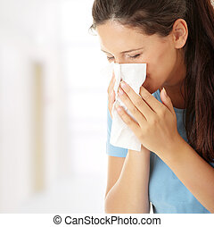adolescent, femme, à, allergie, ou, froid