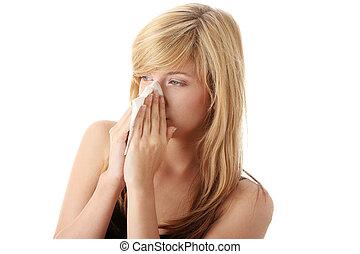 adolescent, femme, allergie