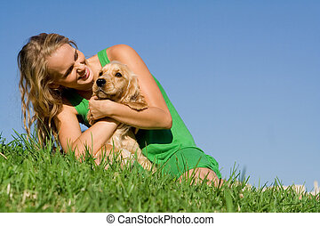 adolescent, femme, chouchou, chien, jeune, cocker, girl,...