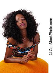 adolescent, femme, jeune, américain, séduisant, africaine, maigre